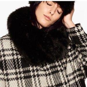NEW Zara black fur snood infinity scarf wrap shrug
